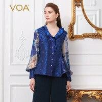 VOA шелк Для женщин Топы Синий принт рубашка плюс Размеры блузка V шеи рюшами тонкий Винтаж жемчуг Бисер жаккардовый фонарь с длинным рукавом