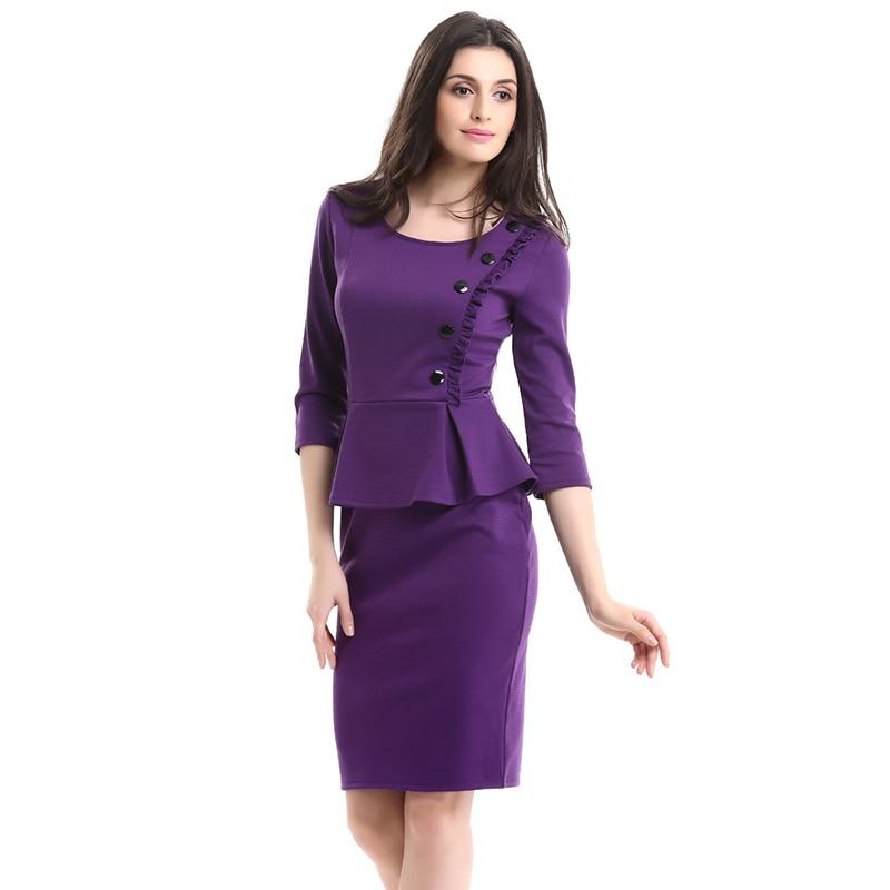 Umělé dvoudílné šaty Ženy Podzimní Móda Elegantní Patchwork - Dámské oblečení