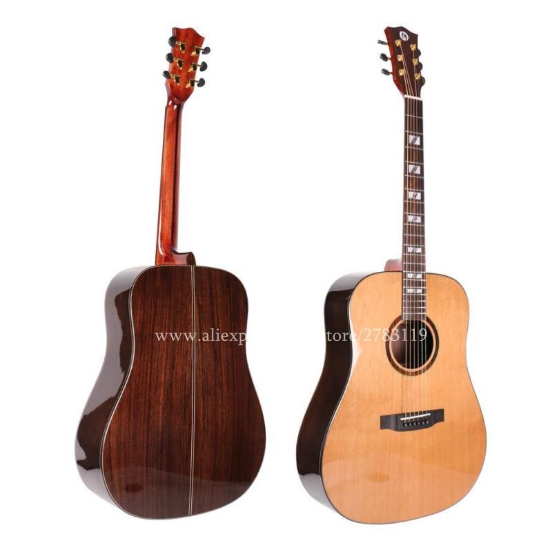 professional full solid guitar 41 acoustic folk guitar solid cedar top solid rosewood body. Black Bedroom Furniture Sets. Home Design Ideas