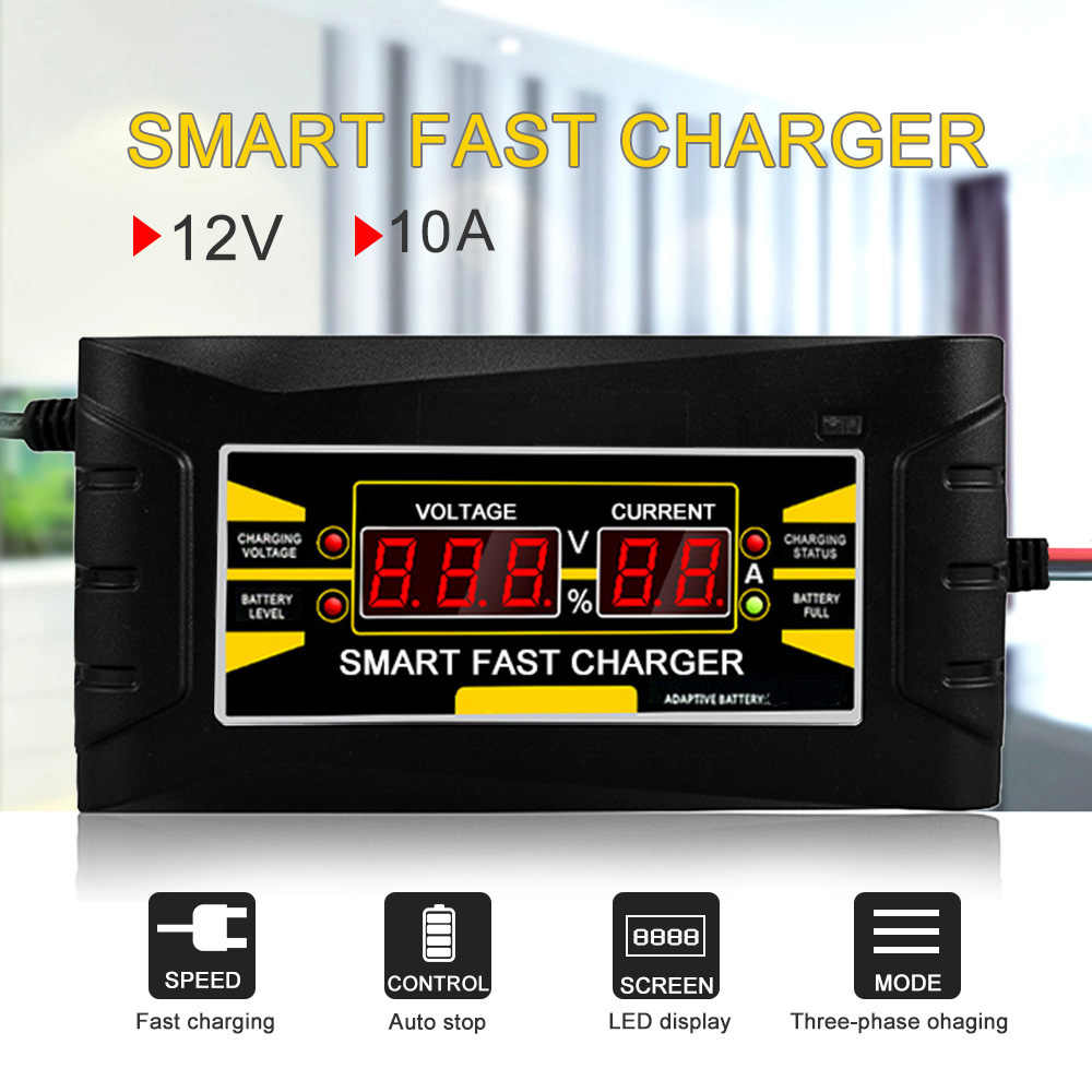 Full Automatic Smart  Car Battery Charger12V 10A Lead Acid/GEL Battery Charger LCD Display EU/US Plug Smart Fast Battery Charger