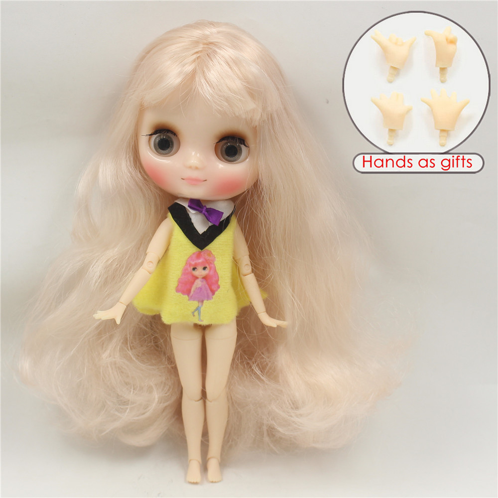 Free shipping 210BL339 Nude Middie blyth Doll nude doll cream hair with bangs bjd toy gift, 1/8 doll, 20cm doll hands as gifts nude doll ayanami rei blue hair 6203