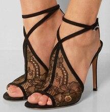 цена на Elegant Black Lace Hollow Sandals Peep Toe Cut-out Flower Mesh See Through Ankle Strap Gladiator Sandals Women Dress Shoes