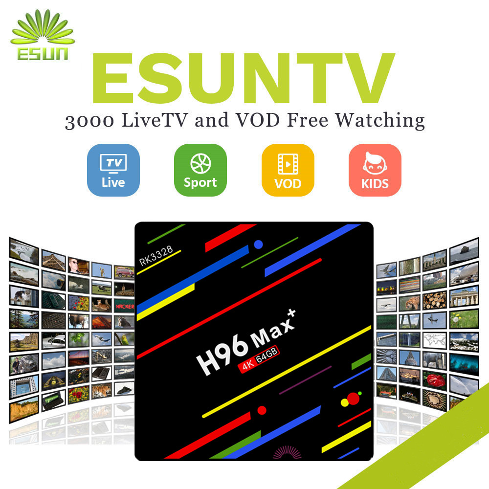 1 Year IPTV Included H96MAX+ ESUNTV 4000+Channel Android 8.1 TV BOX 4/32G With Europe Channels VOD Spain Portugal IPTV+EPG a95x pro voice control with 1 year italy iptv box 2g 16g italy iptv epg 4000 live vod configured europe albania ex yu xxx