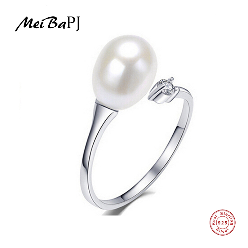 цена [MeiBaPJ]925 sterling silver adjustable rice ring with AAAA natural pearl jewelry 100% real freshwater pearl ring for women