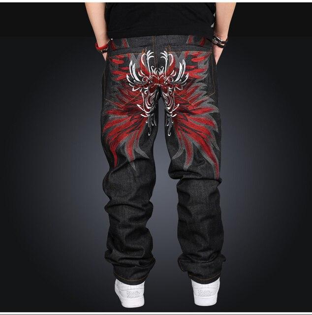 49ac534301b New Designer Jeans Mens Hip Hop Baggy Denim Jeans Men s Loose Fit Street  Wear Embroidery Jean Pants Men Plus Size 42 44