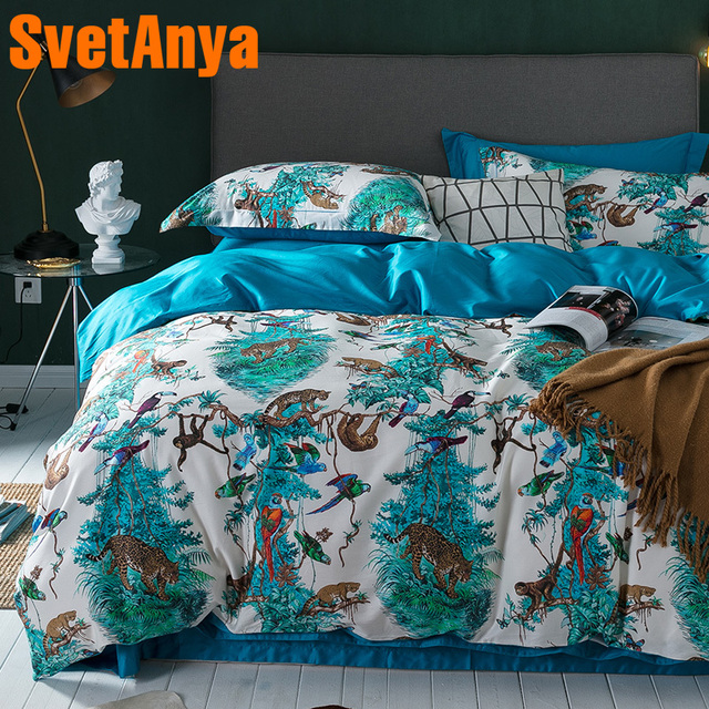 5cd79b51dac Svetanya Zoo Print Bedding Sets Egyptian Cotton Bedsheet Pillowcases Duvet  cover set Twin Queen King Double Size