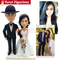 Couples get married holding a flower wedding cake topper custom design handmade sculpted mini real human face figurine