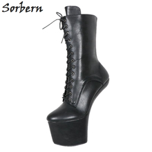 Sorbern Sexy Heelless 20cm Matt Extrem High Heel Boots Lady Gaga Short Shoes Women Unisex Vamp BDSM Plus Size