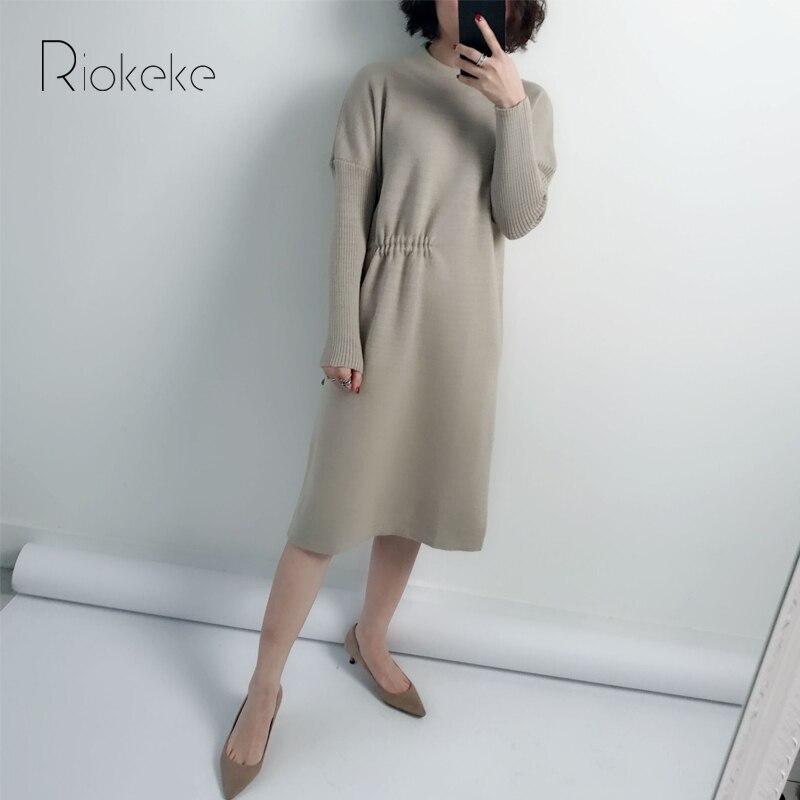 Riokeke Asymmetric Sashes O-neck Knitted Sweater Women Dress Mid-length Drawstring Autumn Winter Dress Solid Apricot Dresses meifeier 407 women s fashionable knitted chiffon blouse apricot l