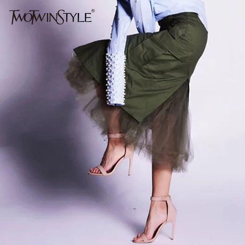 TWOTWINSTYLE Tüll Patchwork Röcke Für Frauen Herbst Split Hohe Taille Paket Hüfte Rock Weiblich Midi Lange Beiläufige Kleidung Mode