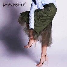 TWOTWINSTYLE jupes en Tulle Patchwork pour femmes, jupe femme longue mi longue, taille haute fendue, hanche, mode automne vêtements de sport