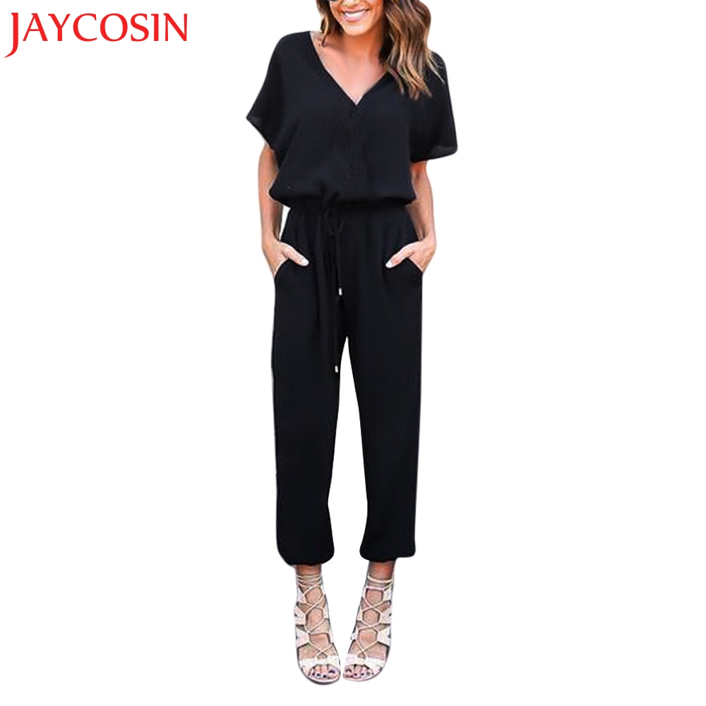 JAYCOSIN Jumpsuits New Women Chiffon Short Sleeve Clubwear Playsuit Bodycon Party Jumpsu ...