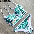 Zmtree novas mulheres sexy swimwear brasileiro impressão zipper triângulo bandeau bikinis set acolchoado maiô feminino praia biquinis 2017
