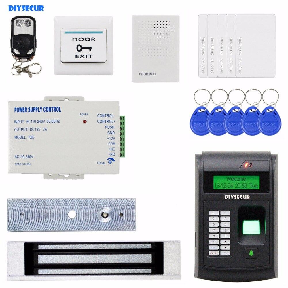 DIYSECUR Remote Control 125KHz RFID LCD Biometric Fingerprint Keypad ID Card Reader Access Control System Kit + Magnetic Lock 125khz rfid card waterproof metal case fingerprint access control system f102 with remote control 10pcs key card