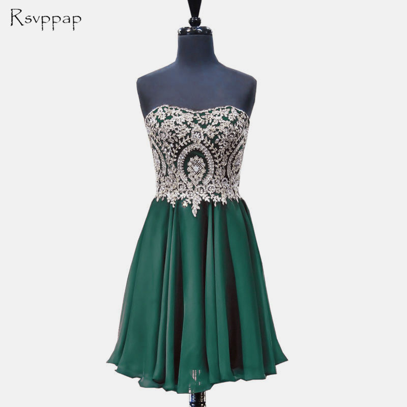 Gorgeous A-line Sweetheart Gold Lace Sleeveless Chiffon African Short Emerald Green   Prom     Dress   2018