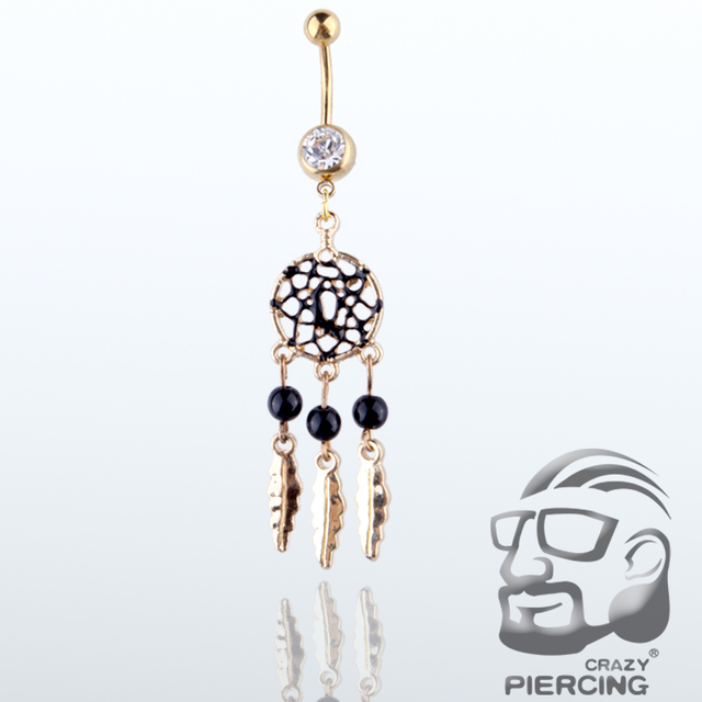 Crystal Stainless Steel Dream Catcher Belly Button Ring 4 Styles