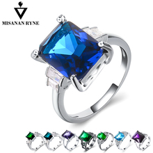 MISANANRYNE luxurious ring 8 style Big Crystal  Pattern Austrian crystal Blue 7/8/9/ wedding rings for women Party Charms Jewelr