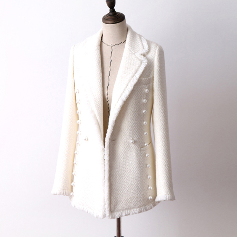 White wool tweed jacket Double breasted pearl Buckle autumn and winter women s jacket new fashion