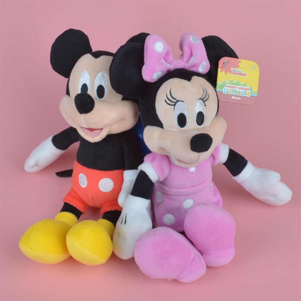 2 Pcs 25cm Mickey & Minnie Mouse Plush Toy, Baby Gift, Kids Doll Wholesale with Free Shipping