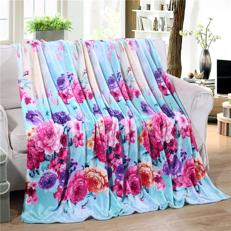 On Sale Home Textile Flower Print Coral Fleece Blankets on The Bed 3 Sizes for Choice Bedclothes Towels Can Be As Bed Sheet