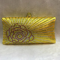 Luxury champagne crystal Clutch bags bling rhinestone evening bags Female women evening clutch bag party bag yellow/red/gold