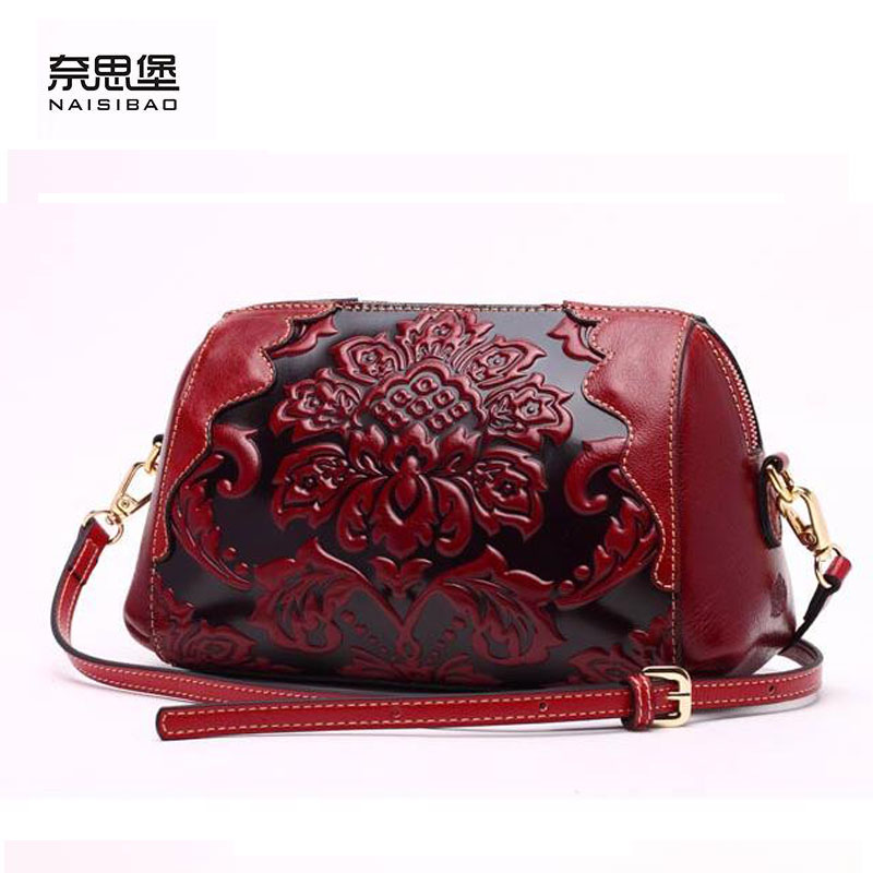 NAISIBAO 2016 New genuine leather women bag fashion chinese style women leather shoulder bag quality cowhide embossing bag 2016 new summer style genuine leather handbag women fashion smiling face bag imported cowhide shoulder bag