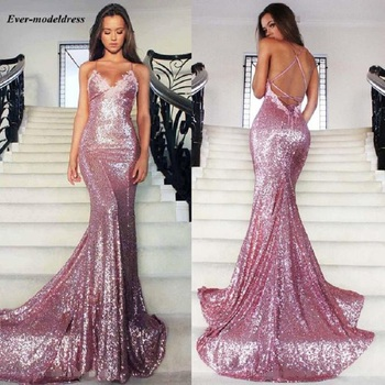 Pink Sexy Mermaid Evening Dress 2019 Backless V-Neck Sequined Floor Length Formal Party Gowns Lace Customized rode de soiree