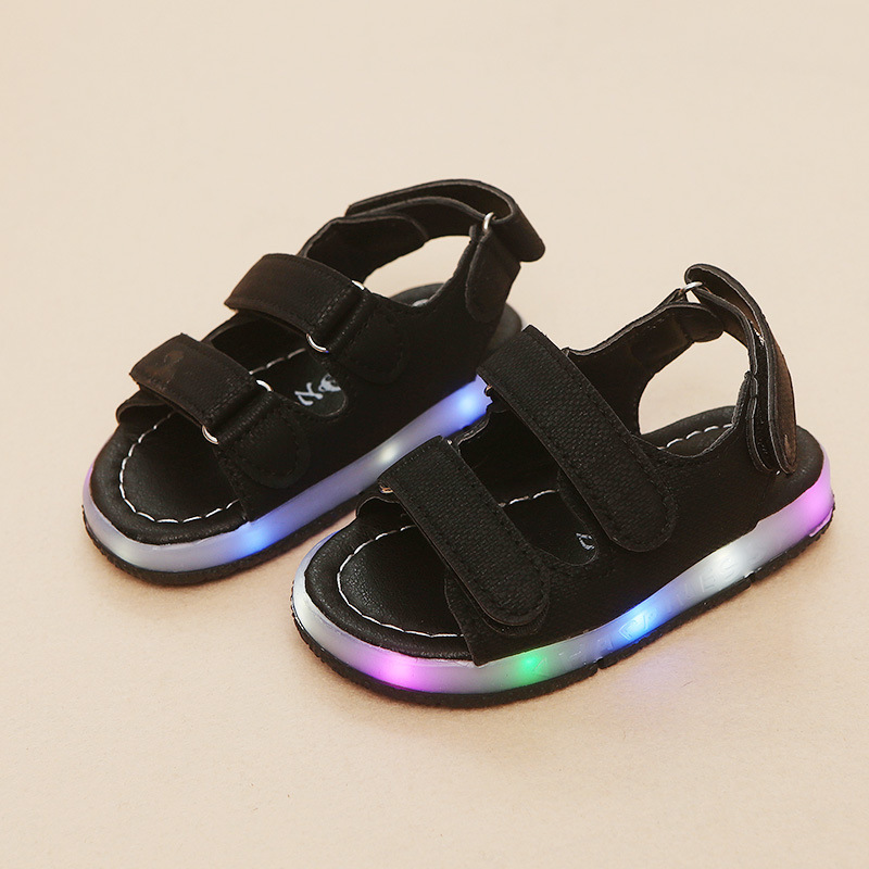 Toddler Sandals Bottom-Shoes Girls Summer Beach Children Students Led Light Hollow Soft