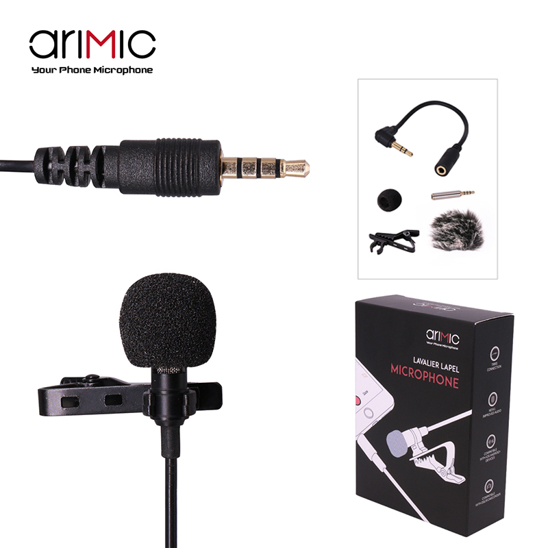 Ulanzi Arimic Lapel Lavalier Microphone Clip-on Hands-free 3.5mm Jack Condenser Mic for iPhone 7 7 Plus 6 for interview Lectures acq25 45 airtac type aluminum alloy thin cylinder all new acq25 45series 25mm bore 45mm stroke