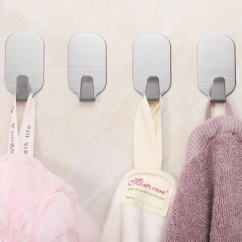 Roestvast stalen lijm opberghaak voor vacht Handdoek kleed Kleding - Home opslag en organisatie - Foto 1