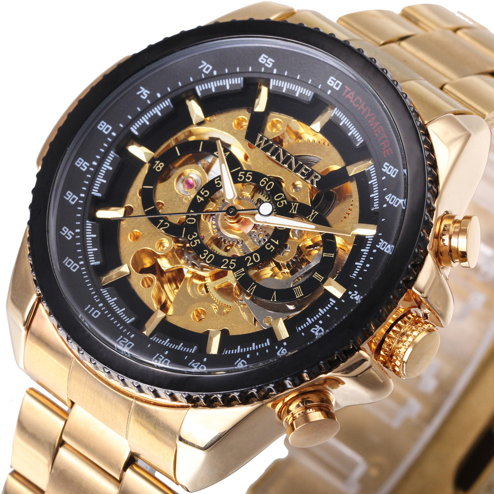 WINNER Top Brand Luxury Men Auto Mechanical Watch Stainless Steel Strap Skeleton Dial FORSINING Male Wristwatch New Year Gift winner brand retro automatic self wind watches men stainless steel strap skeleton wristwatch male casual clock mechanical watch