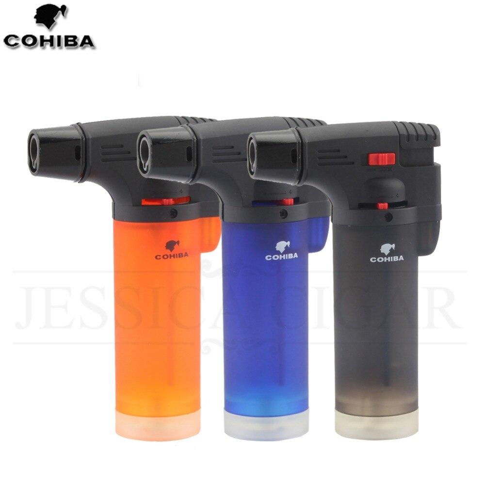 COHIBA Butan Taschenlampe Winddicht Zigarre Leichter 1 Flamme Jet Zigarette Feuerzeuge Nachfüllbar Gas Feuerzeug GALINER