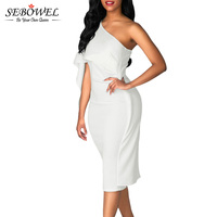 SEBOWEL 2017 White Bodycon Midi Dress Ruffles One Shoulder Elegant Short Party Dress Women Summer Bandage