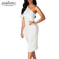 SEBOWEL 2017 Branco Bodycon Midi Vestido Ruffles Um Ombro Elegante Vestido de Festa Curto Mulheres Verão Bandage Vestido Vestido De Festa