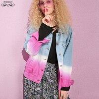 Spring Basic Denim Jacket Women 2019 New Short Loose Gradient Contrast Color Lapel Streetwear Fashion Chaqueta Plus Size HJ191