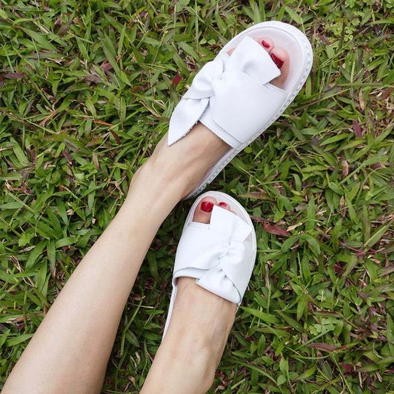 Jookrrix 2018 Summer New Girl Fashion Brand White Shoe Women Real Leather Slipper Bow Lady Slides Beach Female Peep Toe Mules цена