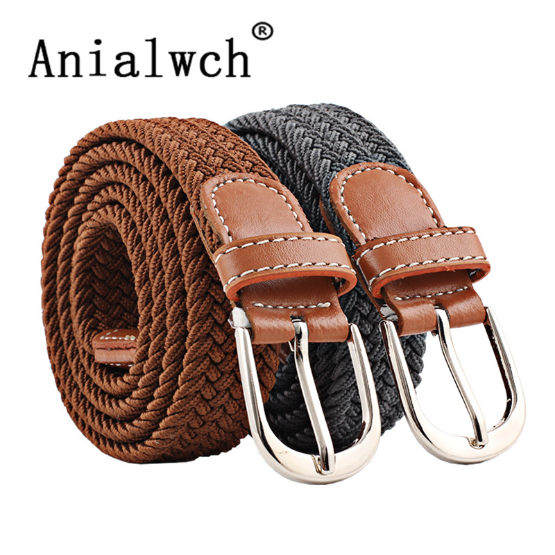 100-120x2.5cm New Mens Casual Stretch Woven Belt Women's Child Elastic Belts For Jeans Knitted Belts Men Modeling Cinturon N201