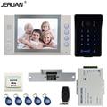JERUAN 8`` LCD video doorphone Recording intercom system New RFID waterproof Touch Key password keypad Camera 8G SD Card Free