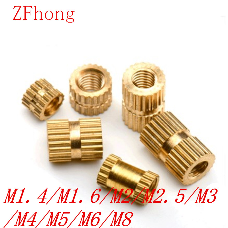100pcs/50pcs/10pcs M1.4 M2 M2.5 M3 M4 M5 M6 M8 Brass Insert Nut Injection Molding Brass Knurled Thread Inserts Nuts