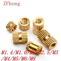 100 шт/50 шт/20 штук m1.4 M2 M2.5 M3 M4 M5 M6 M8 браас вставить гайка литья под давлением латунь накаткой резьбы вставки, орехи