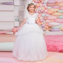 Holy Lace Flower Girl Dresses Short Sleeves A Line First Communion Dress Baby Princess Kids Wedding Party Dress