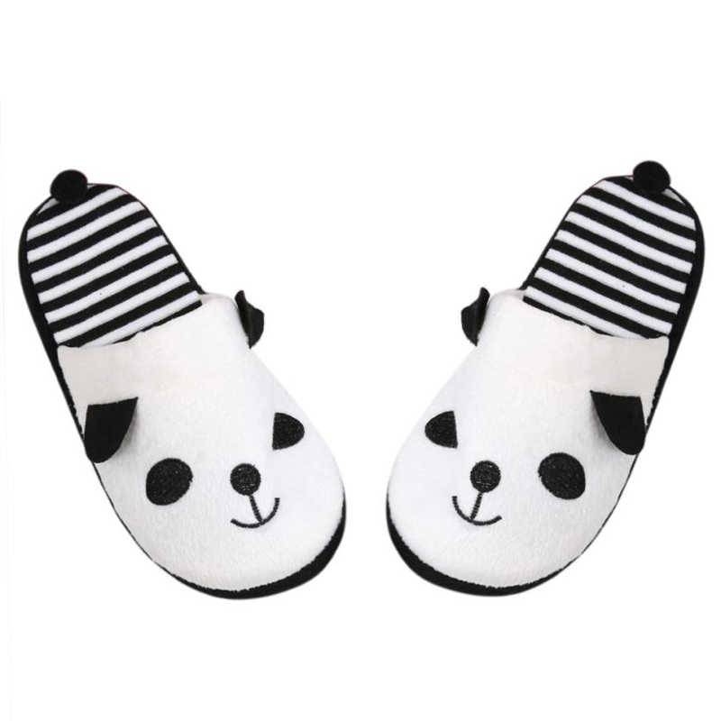 2018 New Fashion Slippers Winter Indoor Lovely Cartoon Panda Home Floor Soft Striped Printed Slippers Female Faux Fur Shoes