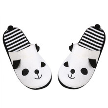 2018 New Fashion Slippers Winter Indoor Lovely Cartoon Panda Home Floor Soft Striped Printed Slippers Female Faux Fur Shoes(China)
