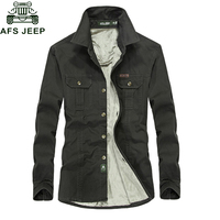 AFS JEEP Thick Cotton Fleece Shirt Men 2018 Autumn Winter Long Sleeve Mens Shirts Plus Size 4XL 5XL 6XL Casual Shirts hombre