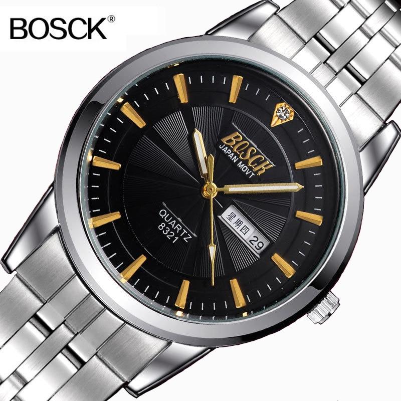 Į viršų Gamintojas Bosck Laikrodis Vyrų mados kvarco laikrodis Nerūdijančio plieno laikrodis vandeniui Kalendorius Vyras Laikrodis Gentleman Relogio 2017