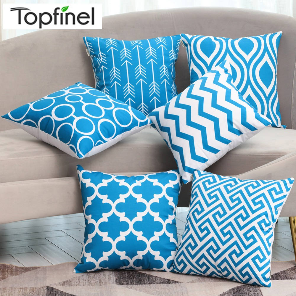 Contemporary Sofa Geometric Pillows: Topfinel Modern Geometric Decorative Cushion Covers Cotton