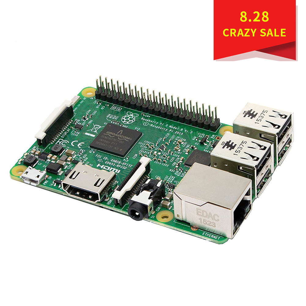 Raspberry Pi 3 Model B Raspberry Pi Raspberry Pi3 B Pi 3 Pi 3B With WiFi & Bluetooth raspberry pi 3 model b starter kit pi 3 board pi 3 case eu power plug with logo heatsinks pi3 b pi 3b with wifi bluetooth