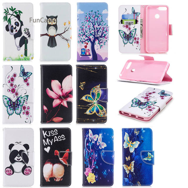 Lotus Flip Phone Case sFor Funda Huawei Honor 7A Holsters Clips Case Casa Glitter Back Case For Huawei Ascend Y6 2018 Flip Case