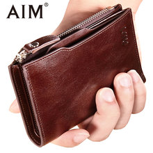 AIM Genuine Cow Leather Oil Wax Zipper Wallet for Men Vintage Real Leather ID Card Organizer Coins Purse Men Luxury Wallet A297