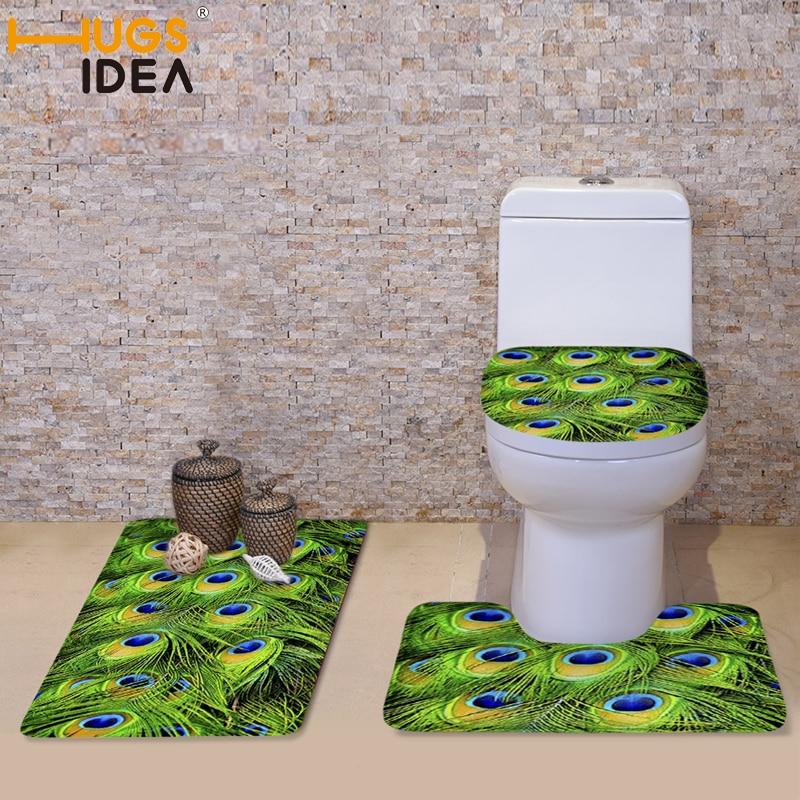 HUGSIDEA 3Pcs/set Peacock Fur Toilet Seat Covers Set Fashion Bathroom Non slip Mat Toilet Cover Decoration Overcoat Cushions